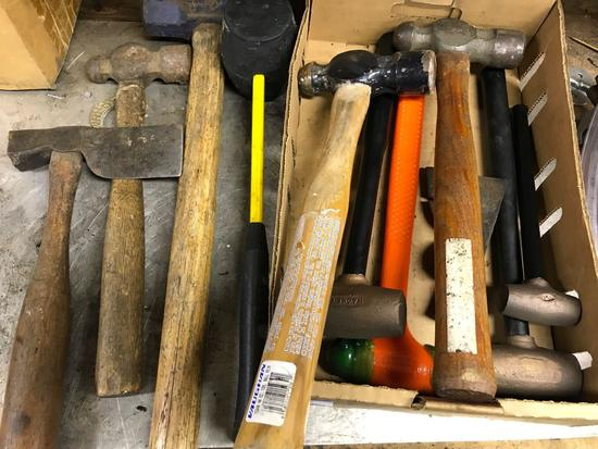 Group lot of several different hammers, including brass head hammers