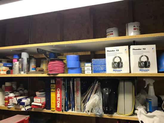 Misc shelf cleanout, manuals, fluids, tape, wire and more. Shelves not included