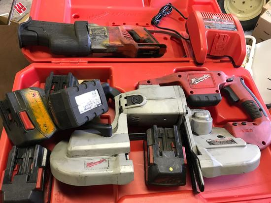 28 Volt Milwaukee Porta Band, and Sawzall, with charger. All batteries pictured do not charge
