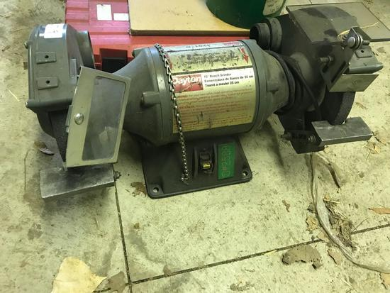 Dayton 10 inch Bench Grinder, Model 4Z911B, powers on