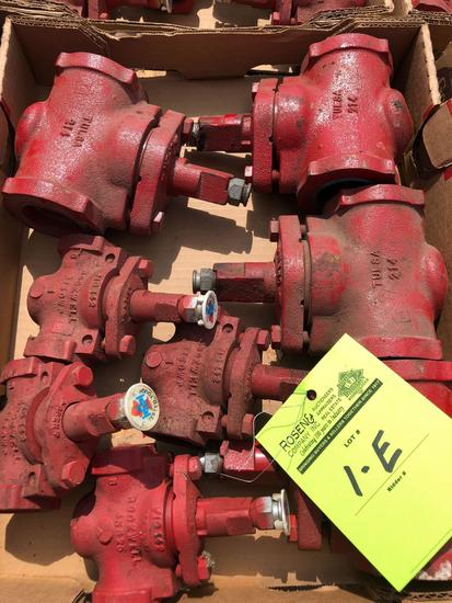 Lot of (8) various new valves.