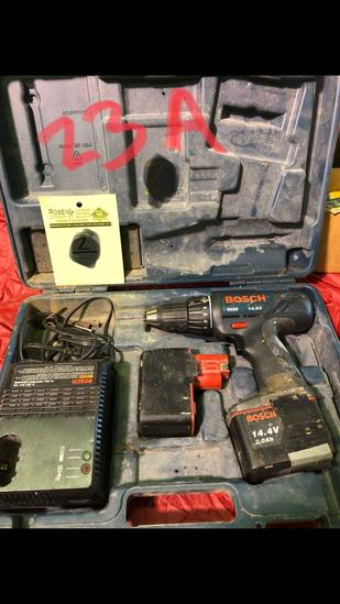 Bosch 14.4a Drill, 2 batteries and charger