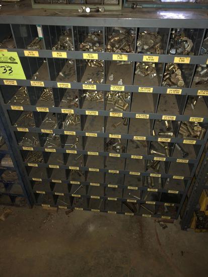 72 slot steel hardware sorter w/contents.