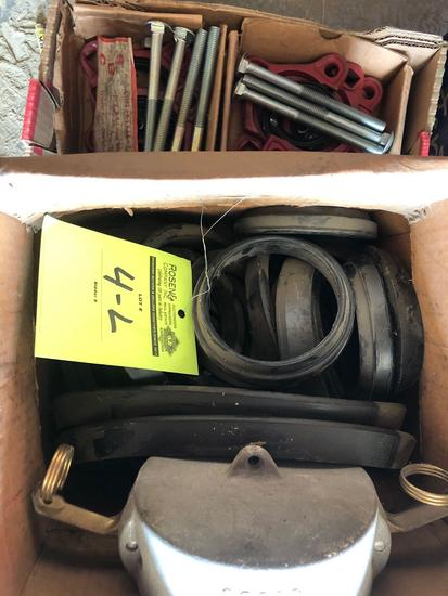 (2) New SBC Collar Leak Clamps (2 in) & 1 box of misc rubber seals etc