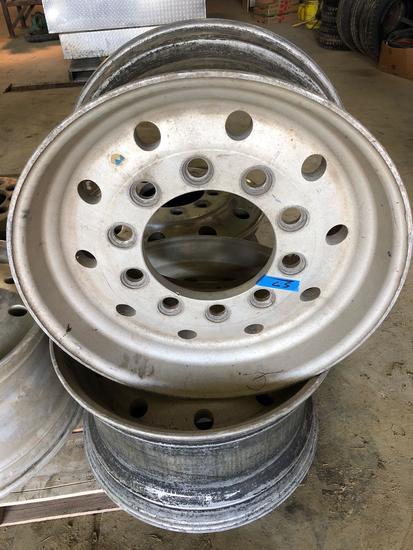 Set of (2) ALCOA 22.5 x 12.25 aluminum rims