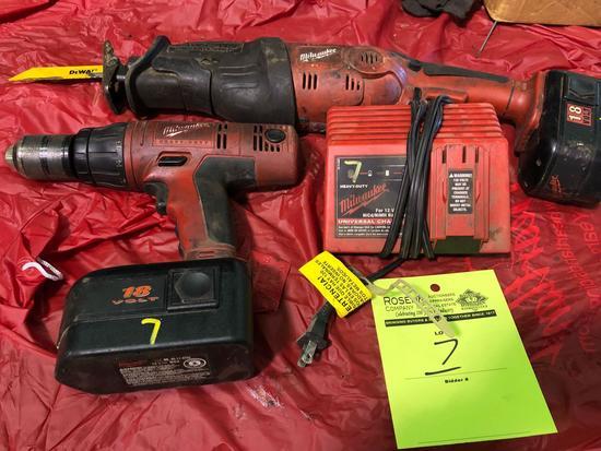 Milwaukee 18v sawzaw and Drill combo.