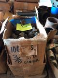 Lot of approx (100) 3/8 in unions & approx (80) 3/4 in x 2.5 in steel pipe nipples