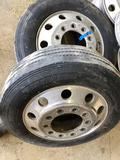 Set of (2) aluminum 22.5 x 8.25 rims mounted on Yokohama 255R/70R22.5 Tires