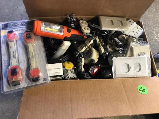 Box of misc electrical supplies
