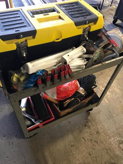2 tiered cart, with casters and contents, tools, hardware and more