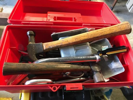 Plastic toolbox with misc tools, hammers and more