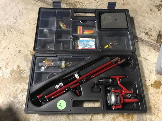 Portable fishing pole and tackle box