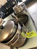 1 bulk lot of all the frying pans, soup pots, large strainer and more.