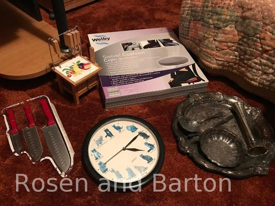 Misc lot, silver-plate, clock, knife set, swivel cushion, and countertops set