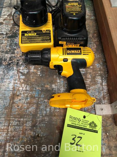 Dewalt 14.4 v, 1/2 in drill w/ 2 chargers and 2 batteries
