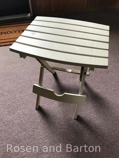 Folding Plastic Patio Table, approx 20 by 20 inches