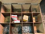 Wooden hardware sorter on wheels. W/ hardware