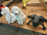 2 Concrete Poodles, and one Frog, Garden lot