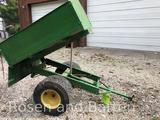 Homemade 32 in x 36 in dump cart for yard tractor.