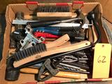 Group lot of hammers, riveters, wire brushes, mallets etc
