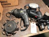 Group lot of drill, orbital sander, heat gun and sanding head