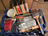 Group lot of chisels, Wood boring bits, palm sanders & more