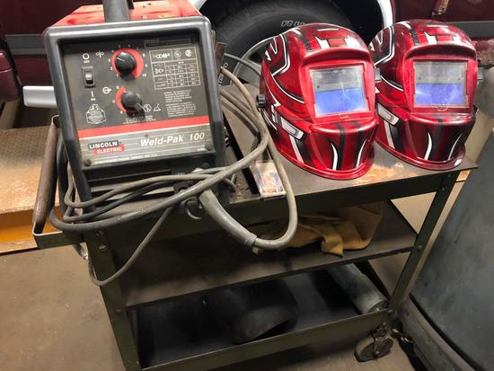 Lincoln Electric Weld-Pak 100 Welder w/ cart and helmets