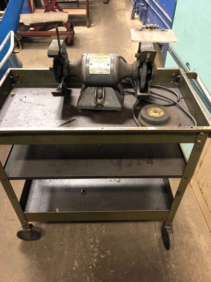 Baldor grinder/buffer on cart.