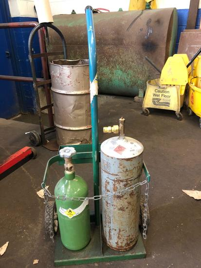 Portable gas cart. Includes acetylene and oxygen tanks