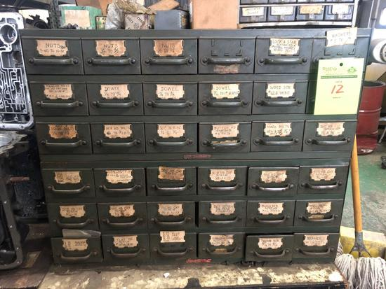 2 Vintage Equipto Metal Drawer Parts Bins with Contents.