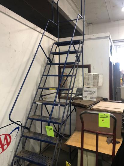 8 ft Industrial rolling ladder.