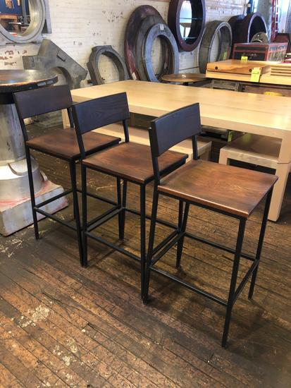 Group Lot (3) Wooden/Steel High Top Chairs