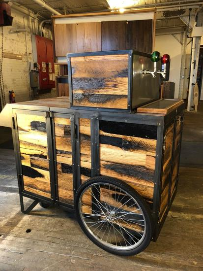 Hand Crafted 2 Keg Beer Cart w/ harvested lumber from Winstar Farm-Versailles, Kentucky