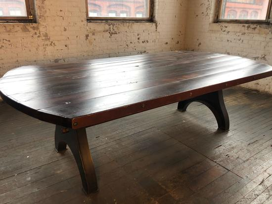 8 ft 3 in x 4 ft 5 in Reclaimed Hardwood Dining Room Table Salvaged from Cleveland, Oh.