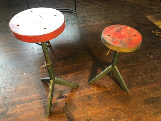 Pair of Vintage Adjustable steel base, wooden top stools.