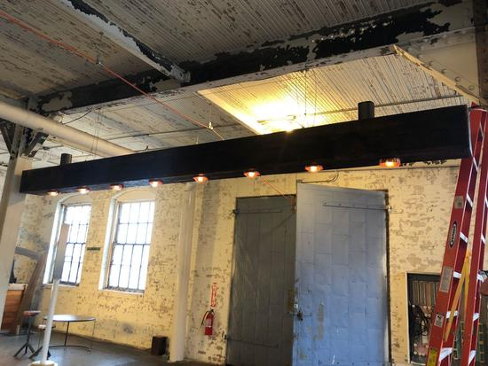 17 ft 6 in Beam Like Industrial, Hand Crafted Wooden Column Light w/ Adjustable Bulbs