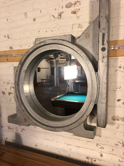 Vintage Wooden Mirrored Wall Unit salvaged from T & B Foundry, Cleveland, Oh