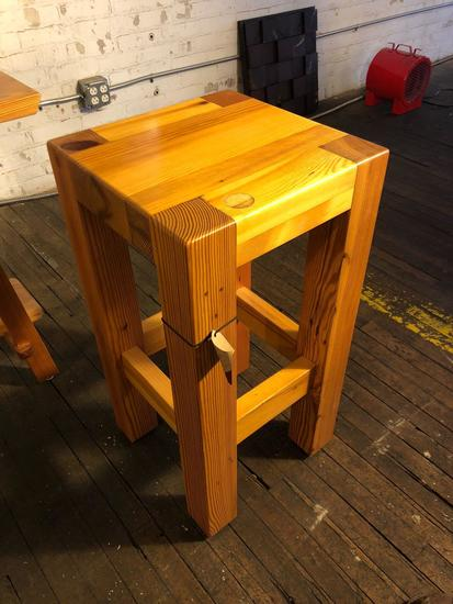Hand Crafted Wooden Pool Table Stool