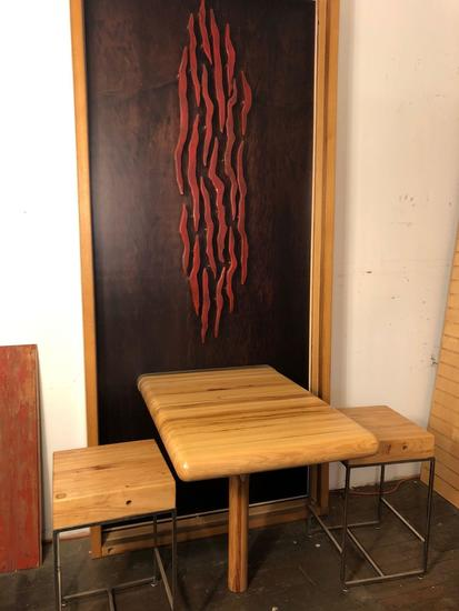 Hand Crafted Bistro Table & Stools with deco backing