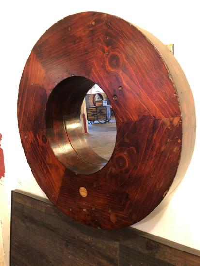 Vintage Wooden 29.75 Diameter TB Foundry Mold Mirror