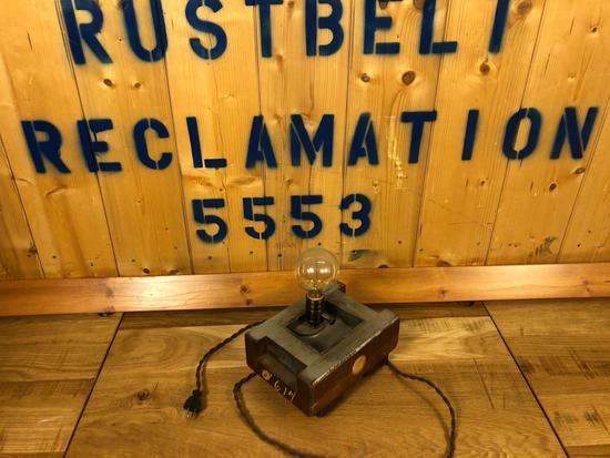 Vintage Industrial Salvaged Hamd Made Lamp Fixture