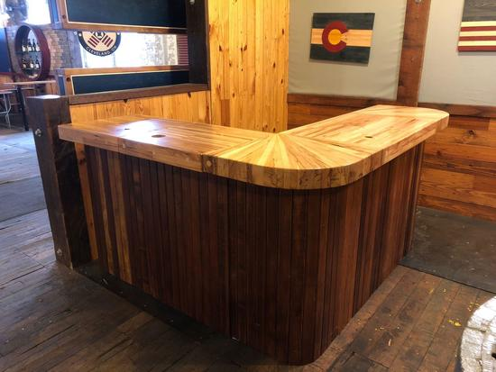 Handcrafted Wooden Bar from Salvaged Wood from A Chrysler Plant