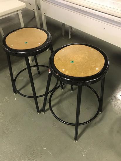 2- metal framed bar stools