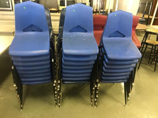 23- Blue Plastic School chairs