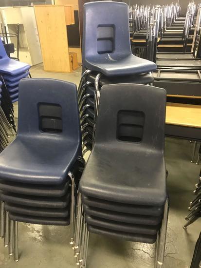 19- Blue Plastic Schools Chairs