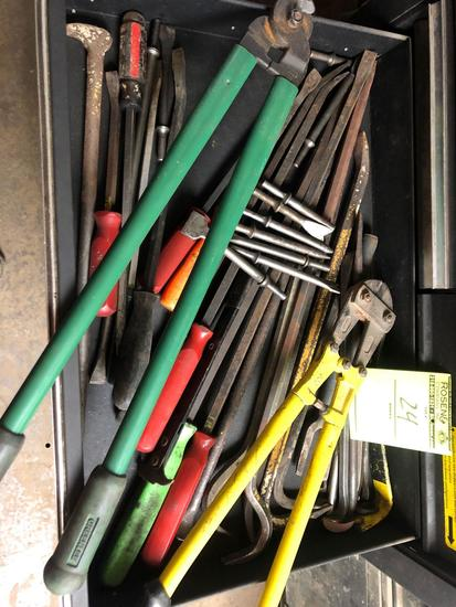 Bulk drawer load of pry bars, bolt cutters, bits and more