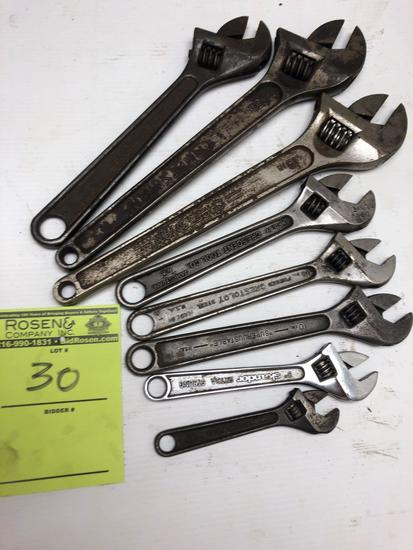 Lot of (8) Various crescent wrenches