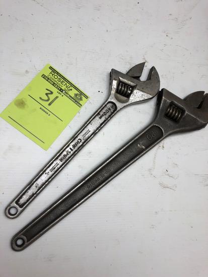 Lot of (2) Large Crescent Wrenches. Proto 720 & Craftsman 400mm