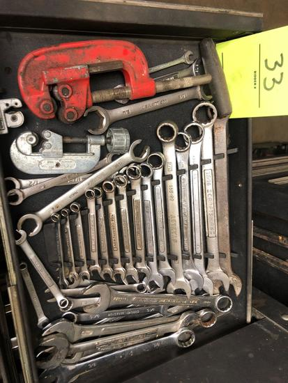 Bulk drawer load of mostly Crraftsman Open end wrenches, pipe cutters and more