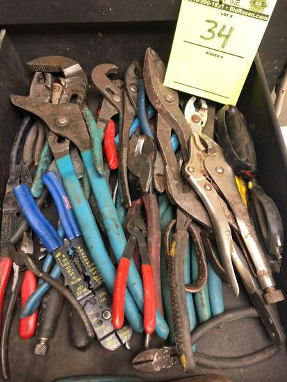 Bulk drawer load of crimpers, snips, vice grips, cutters & more